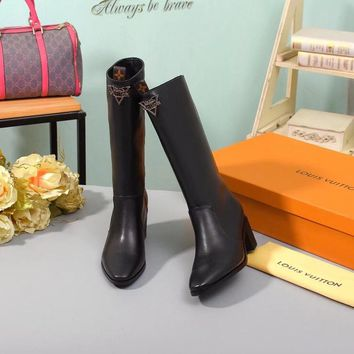 LV Louis Vuitton Women Leather Wool Martens lace up zipper short Heels Matchmake Ankle Boot Shoes Boots Best quality