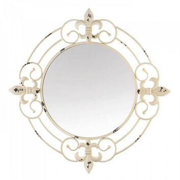 Antique White Elegant Scrolls Wall Mirror