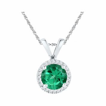 10k White Gold Women's Lab-Created Emerald Solitaire & Diamond Halo Pendant - FREE Shipping (US/CA)