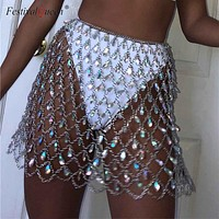 FestivalQueen boho crystal sequin women's metal chain skirt 2018 summer beach hollow out sparkly handmade mini skirts