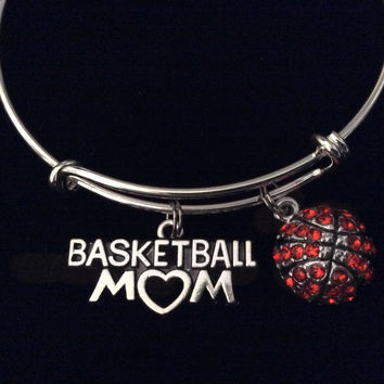 Basketball Mom Crystal Ball Charm Silver Expandable Charm Bracelet Sports Gift Adjustable BangleBasketball Mom Crystal Ball Charm Silver Expandable Charm Bracelet Sports Gift Adjustable Bangle