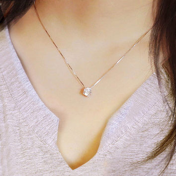 Shiny Jewelry Gift New Arrival Stylish Silver 925 Diamonds Korean Simple Design Necklace [10444667476]