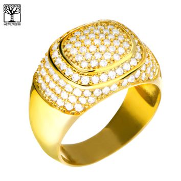 Jewelry Kay style Men's Bling Brass 14k Gold Plated Hand Set CZ Band 3 layers Iced Out Pinky Rings