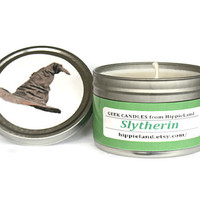 Slytherin Scented Soy Tin Candle 8oz. Soy Candle, Harry Potter, Scented Candle, Geek Candle. Geek Gift. Soy Candles. Book Candle,