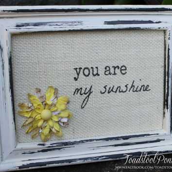 Distressed Frame with You are My Sunshine Burlap Design  5.5 by 7.5  Rustic Shabby Chic
