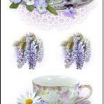 Set of 10 Quantity Bookmarks - Purple Teacups (Tea Cups) Perfect for Tea Party Favors