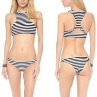 KUBI Bikini High Neck Cross Back Top Striped Bottom Bathing Swim Suit (Small (US 0))