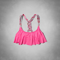 Braided Strap Ruffle Swim Top