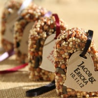 150 medim Bird Seed favors - hearts, personalized, eco friendly, birdseed wedding favor, love birds