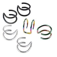 Men's Surgical Steel Non- Pierced Clip On Earrings Fake Ear Cartilage Cuff Ear Ring, 3pairs
