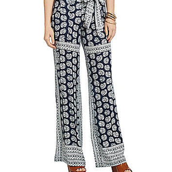 Jessica Simpson Kingston Printed Wide-Leg Pants - Blue/White