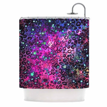 "Ebi Emporium ""Rainbow Dotty Ocean, Purple"" Pink Black Shower Curtain"