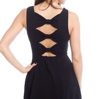 Gifted with Grace Back Bow Skater Dress - Black