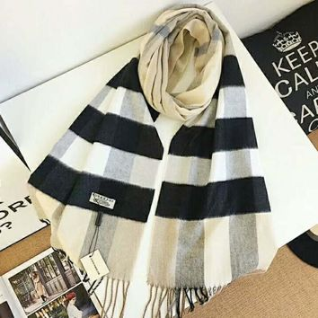 BURBERRY Ladies Men Fashion Grid Print Cashmere Cape Scarf Scarves Shawl Accessories I-TMWJ-XDH