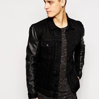 Religion Denim Jacket with Faux Leather Sleeves
