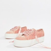 Superga Platform Trainers In Pink Velour at asos.com