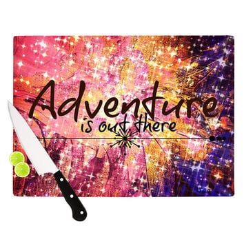 """Ebi Emporium """"Adventure is Out There"""" Pink Typography Cutting Board"""