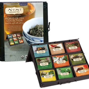 Numi Organic Tea World of Tea Collection Gift Set of Assorted Teas in a Bamboo Tea Chest