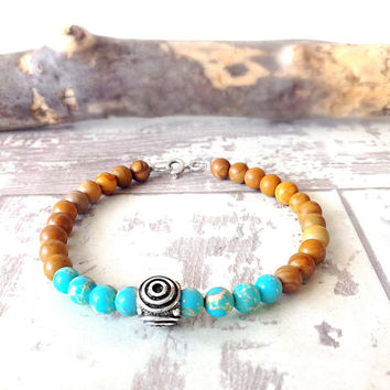 Sterling silver gemstone bracelet, natural stone, silver gemstone jewellery, sea sediment jasper, sandalwood jasper, gemstone bead bracelet