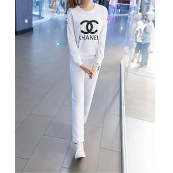 CHANEL Women Casual Print Round Neck Top Sweater Pullover Pants Trousers Set Two-Piece Sportswear