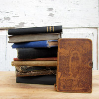 Vintage Antique Stack of Small German Books/ Leather Covers/ Assorted Colors, Styles/  Hand Binding/ Antique Books