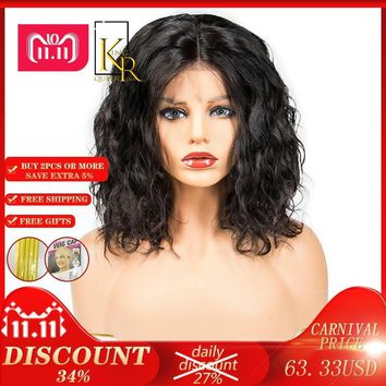 Cool Lace Front Human Hair Bob Wigs For Women Pre Plucked With Black Remy Hair 130% Wavy Short Wigs Brazilian King Rosa QueenAT_93_12