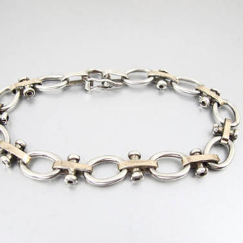 Vintage 950 Silver 18K Rose Gold Bracelet. Modernist Industrial Reversible Link Bracelet. Unisex Men Women Jewelry.