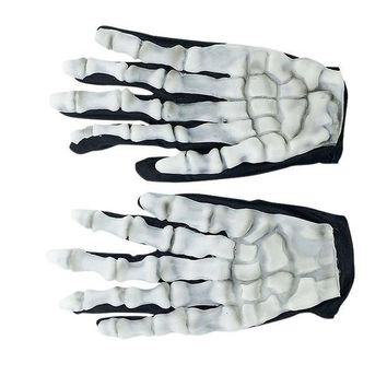 CREYET7 High Quality Halloween Skull Bone Silicon Rubber Skeleton Goth Racing Full Finger Gloves