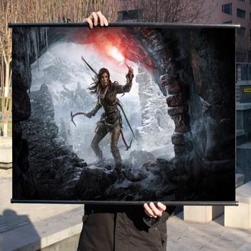 """Tomb Raider 10 Rise"" HD Game Movie Wall Scrolls Poster Bar Cafes  Home Decor Banners Hanging Art Waterproof Cloth Decorative 2"