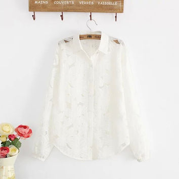 Summer Korean Women's Fashion Hollow Out Embroidery Cotton Linen Blouse [6513595015]