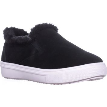 STEVEN Steve Madden Cuddles Fashion Sneakers, Black Suede, 11 US