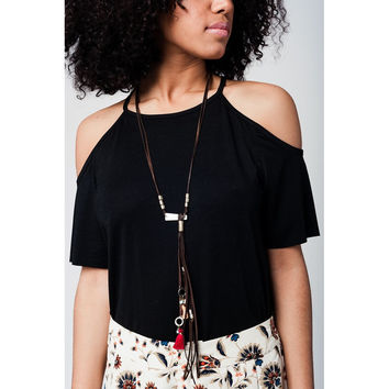 Brown longline faux leather necklace with fringes