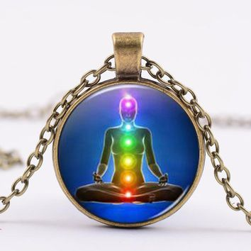 SONGDA Reiki Healing 7 Chakra Necklace Yoga Meditation Crystal Glass Cabochon Pendant Statement Spiritual Power Necklace Women