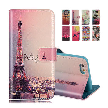 For iphone SE Wallet Style Flip Case with Eiffel Cute Print For iphone 5 5S 5G