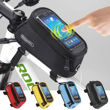 CYCLING MOBILE PHONE CASE BAG POUCH  BIKE BICYCLE FRAME PHONE HOLDER PANNIER Touch