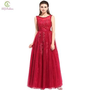 SSYFashion Wine Red Lace Flower Long Evening Dress the Birde Elegant Floor-length Sleeveless Prom Formal Dresses Robe De Soiree