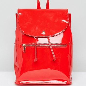 ASOS Patent Soft Backpack With Zip Detail at asos.com