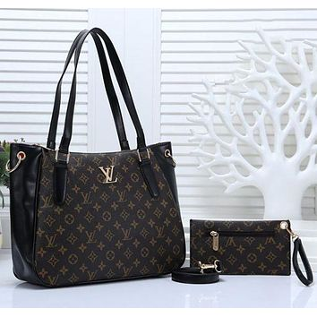 LV Louis Vuitton tide brand female large capacity shopping bag handbag Messenger bag two-piece Black+LV