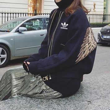 """Adidas"" Women Casual Fashion Embroidery Sequin Wing Long Sleeve Zip Cardigan Woolen Baseball Clothes Jacket Coat"