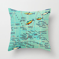 BORA BORA Map Pillow | Tahiti French Polynesia | Decorative Throw Pillow Cover | Vintage map pillow | honeymoon wedding destination gift