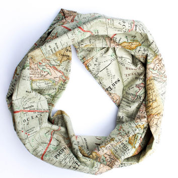 100% Cotton World Map Travel Infinity Scarf w/ {Secret Pocket}