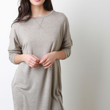 Round Neck Long Dolman Sleeves Tunic Top