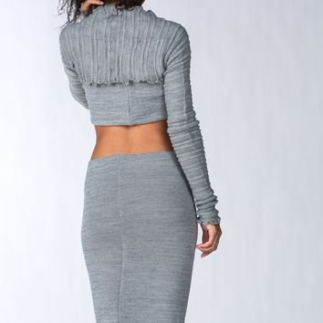 Matching Sweater Set Knee High Dress & Crop Top
