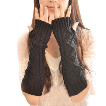 2017 Women Knitted Crochet Long Fingerless Elbow Gloves Mitten Winter Warm Gloves New