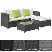 Patio 5PC Rattan Sofa Set Furniture Sectional PE Wicker Deck Couch 4 Color New