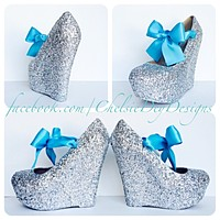 Silver Wedge Glitter Pumps, Wedding High Heels with Aqua Bows