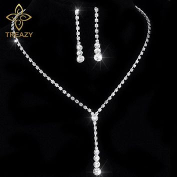 TREAZY New Fashion Celebrity Style Tassel Drop Crystal Necklace Earrings Set for Women Bridal Bridesmaid Wedding Jewelry Sets