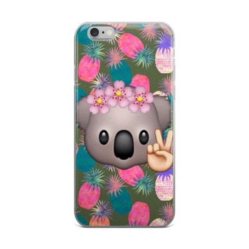 Pineapples Koala Emoji Collage Teen Cute Girly Girls iPhone 4 4s 5 5s 5C 6 6s 6 Plus 6s Plus 7 & 7 Plus Case