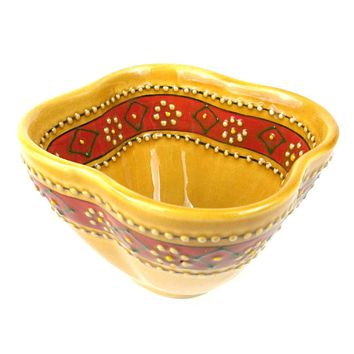 Hand-painted Mexican Ceramic Pottery Dip Bowl in Honey