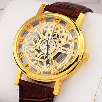 Cool Mens Gift Hollow Out Leather Strap Watch